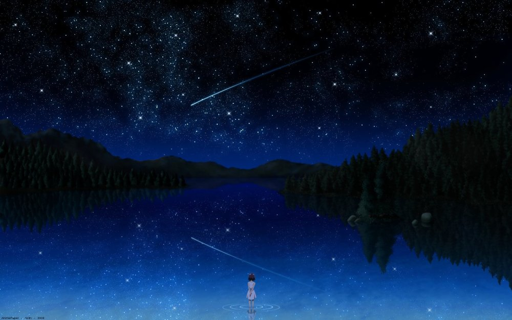 503825-anime-anime-girls-bai-dark-darker-than-black-falling-stars-forests-lakes-night-night-sky-outer-space-reflections-shooting-star-stars-trees-water